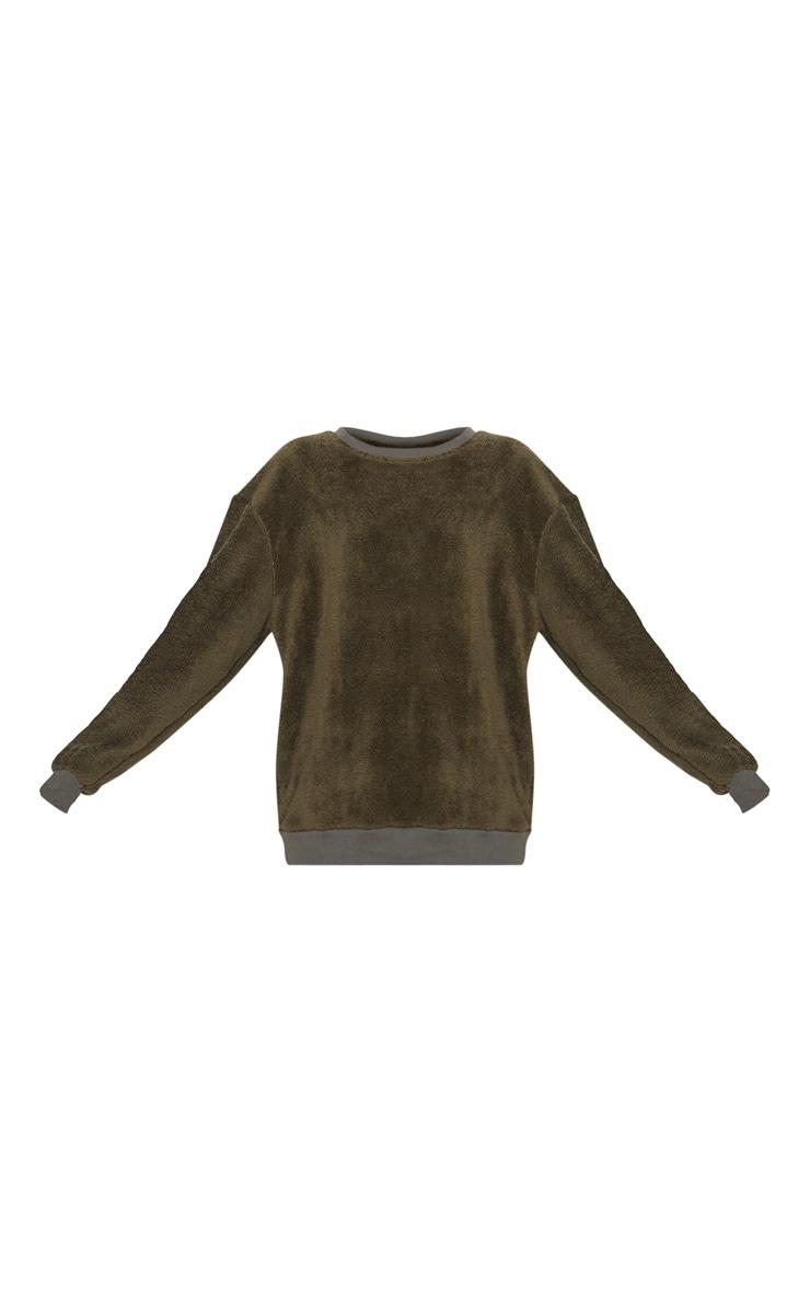 Khaki Fleece Oversized Sweater 3