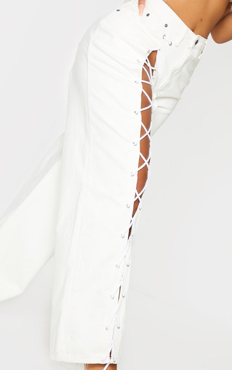 PRETTYLITTLETHING Shape Ecru Lace Up Side Wide Leg Jeans 4