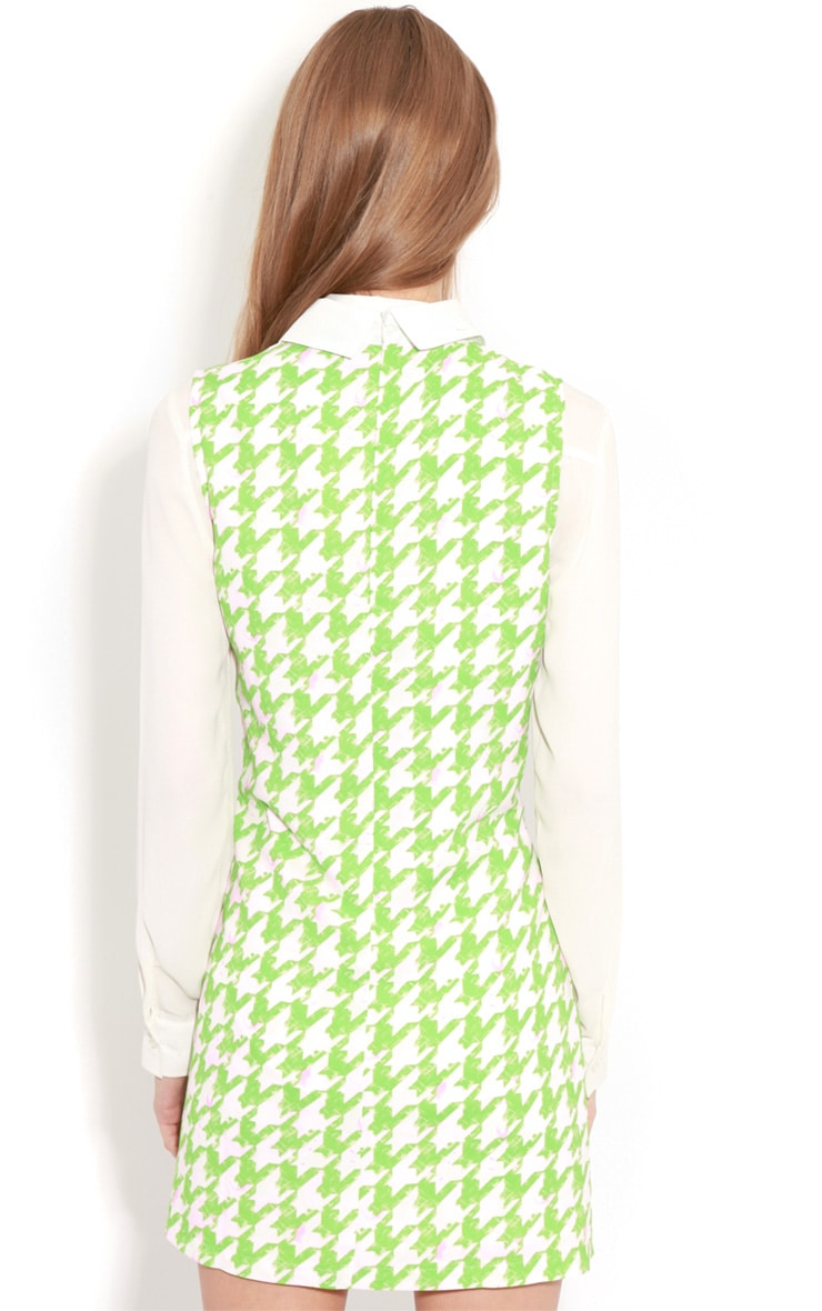 Ayla Green Dogtooth Shift Dress 2