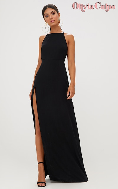 d0eb35b984f5 Black Strappy Back Detail Chiffon Maxi Dress