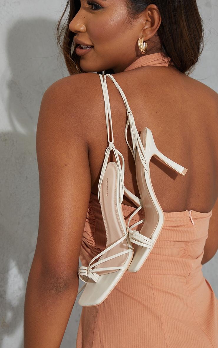 Cream Strappy Ankle Tie Heeled Sandals 2