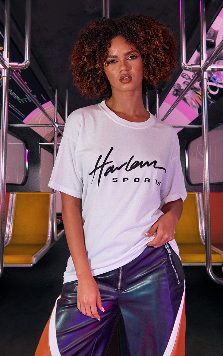 White Unisex Harlem Graphic Print Oversized T Shirt 1