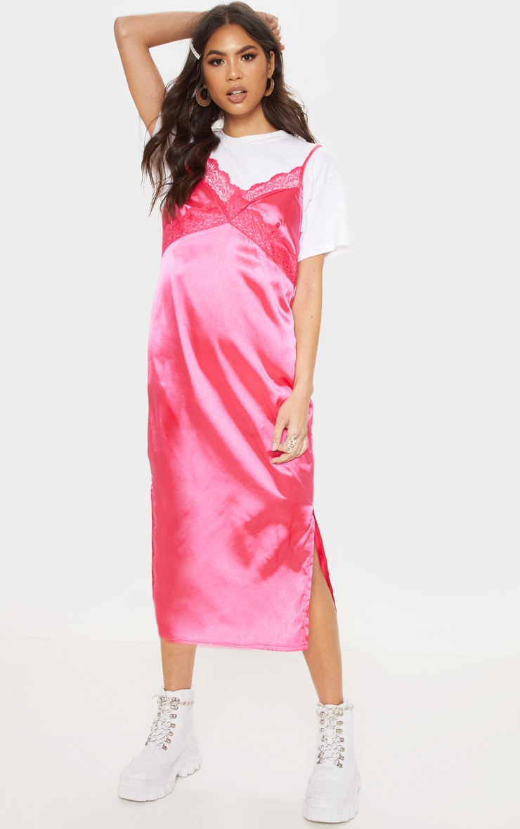 Hot Pink Lace Trim Midi Shift Dress 1
