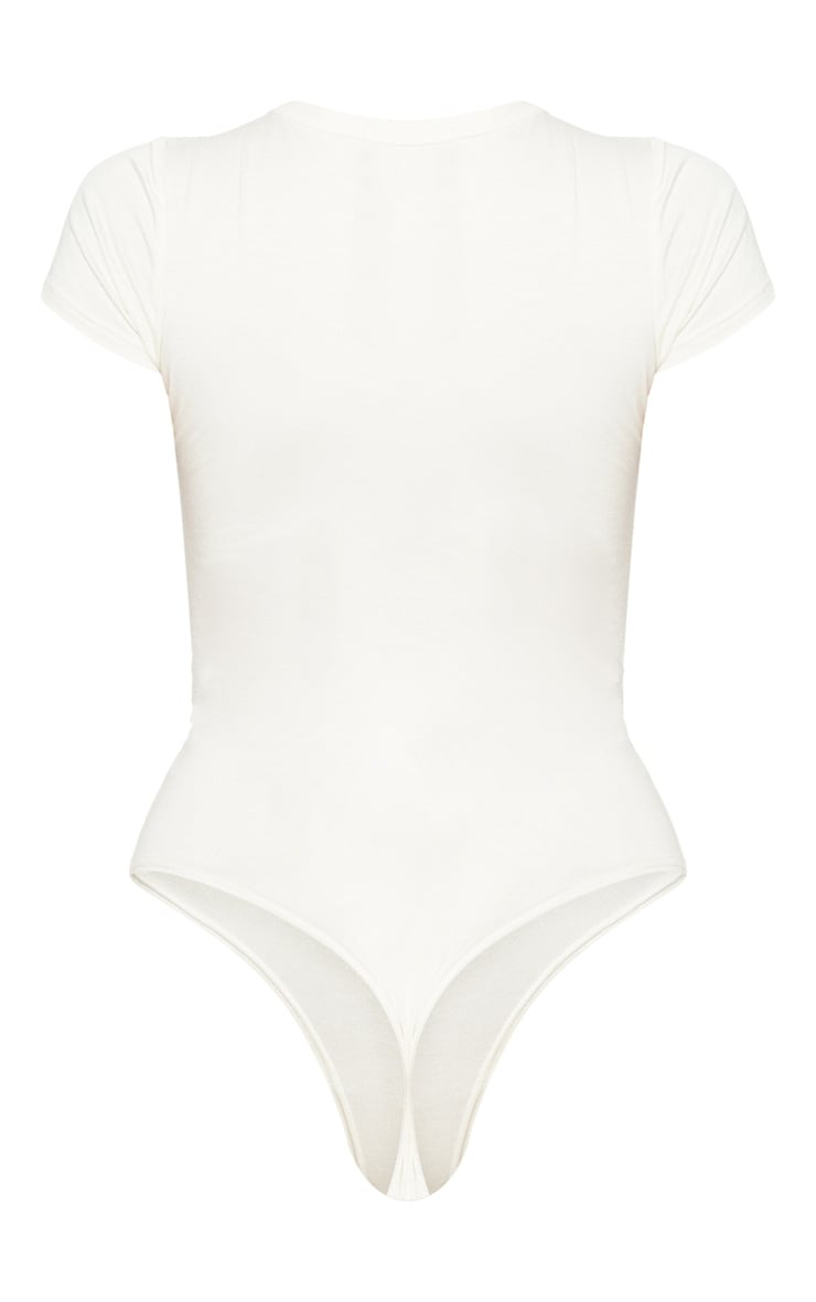 Ecru Jersey Fitted Short Sleeve Bodysuit 4