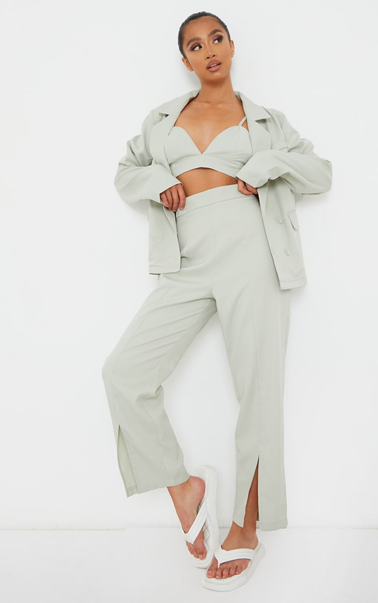 Petite Sage Green Split Hem Cigarette Trousers image 1
