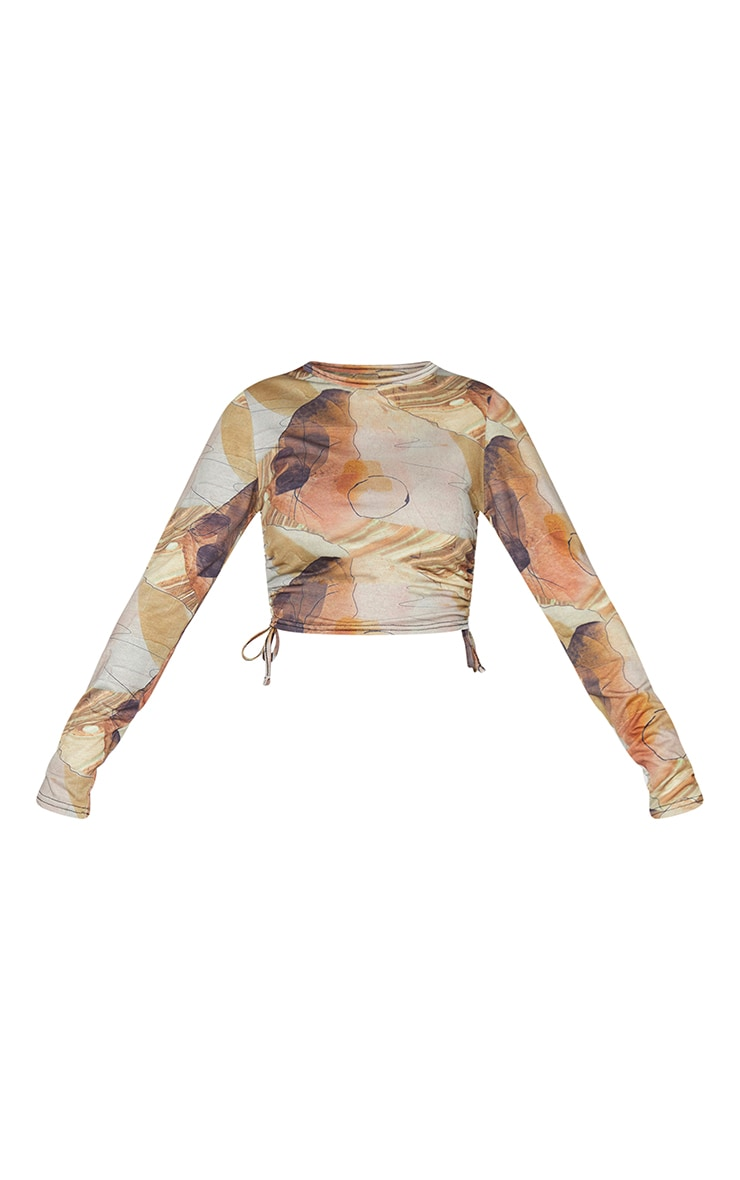 Beige Abstract Print Jersey Ruched Side Long Sleeve Crop Top 5
