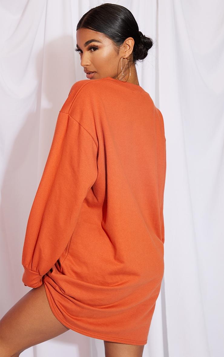 Burnt Orange Oversized Sweater Dress 2
