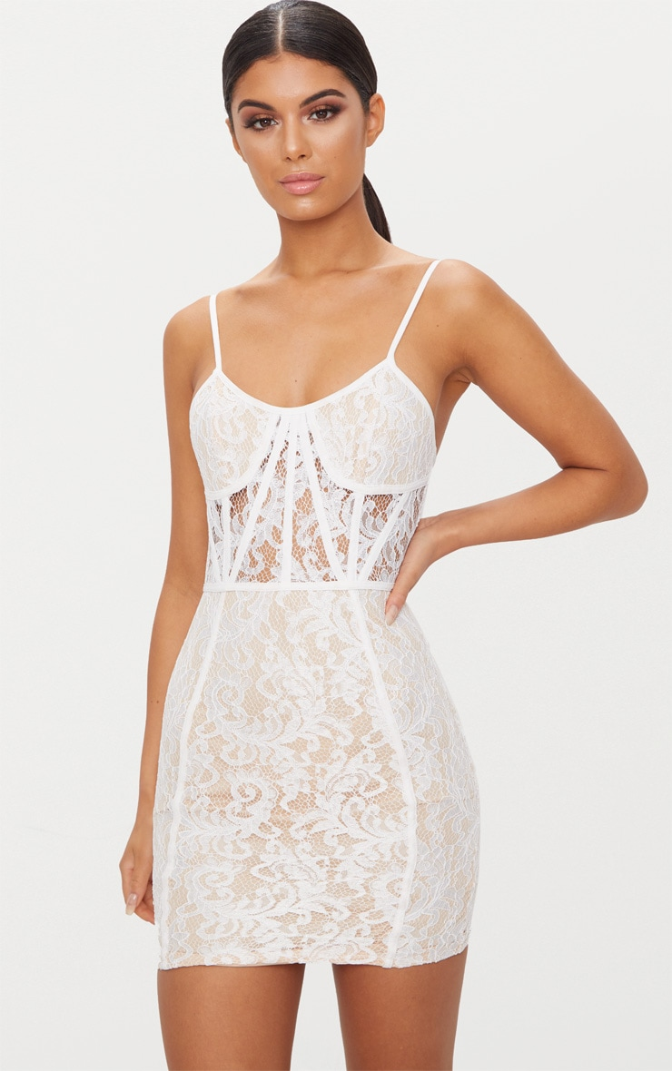 White Lace Strappy Panelled Bodycon Dress 4