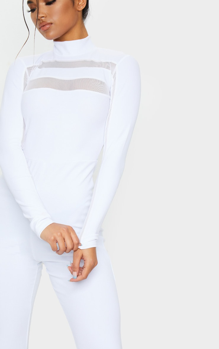 White High Neck Mesh Insert Long Sleeve Jumpsuit 5