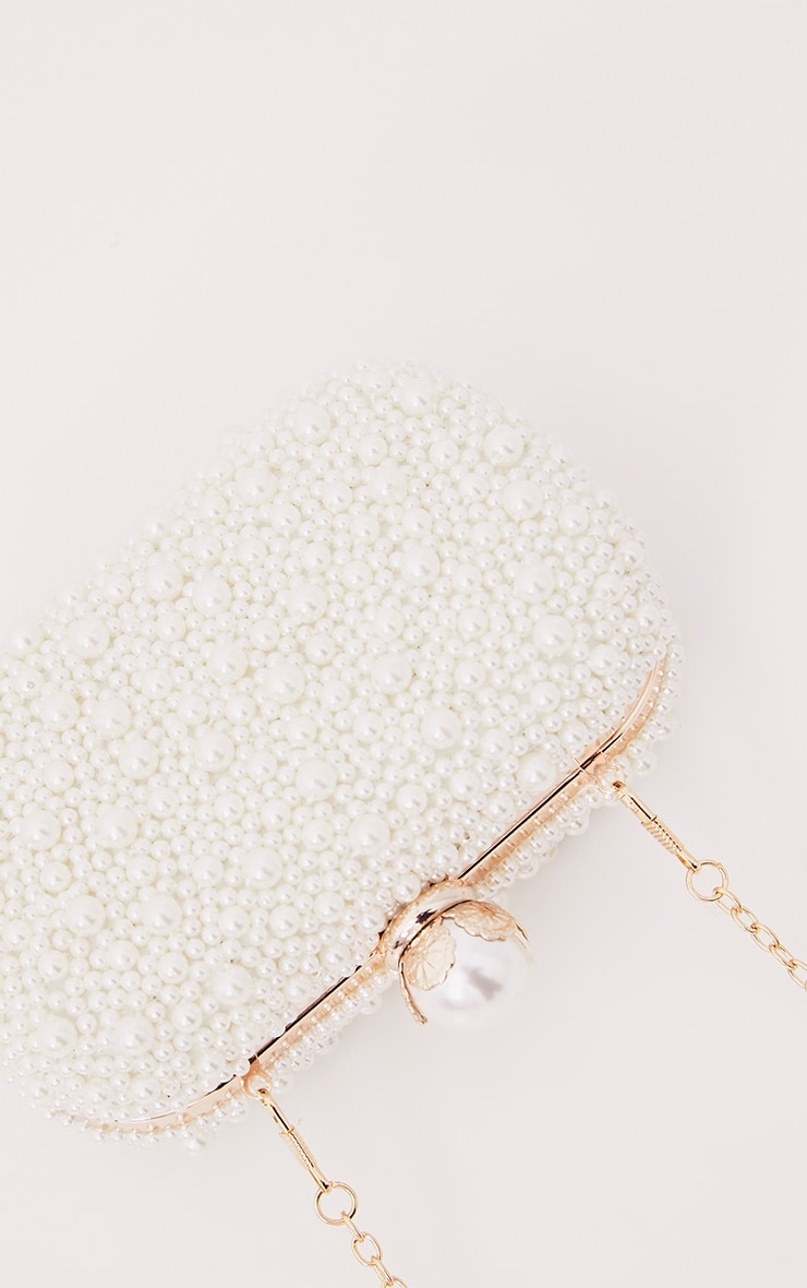 Cream Pearl Box Clutch 3