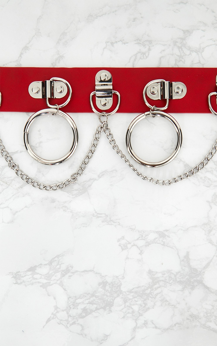 Red Chained Hoops Belt 5