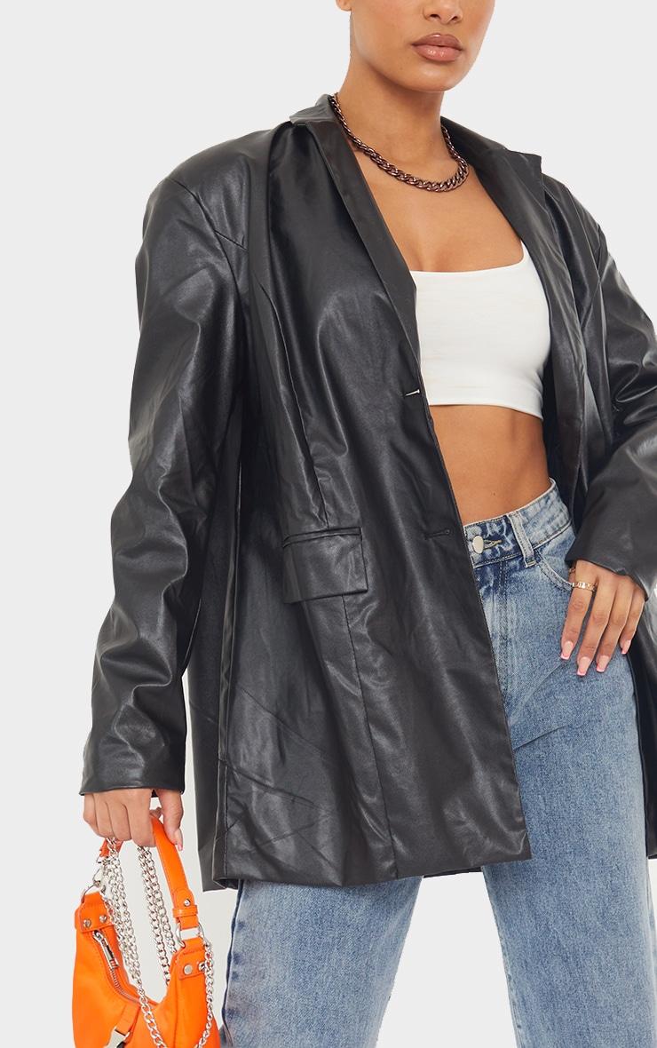 Black Faux Leather Oversized Dad Blazer 4
