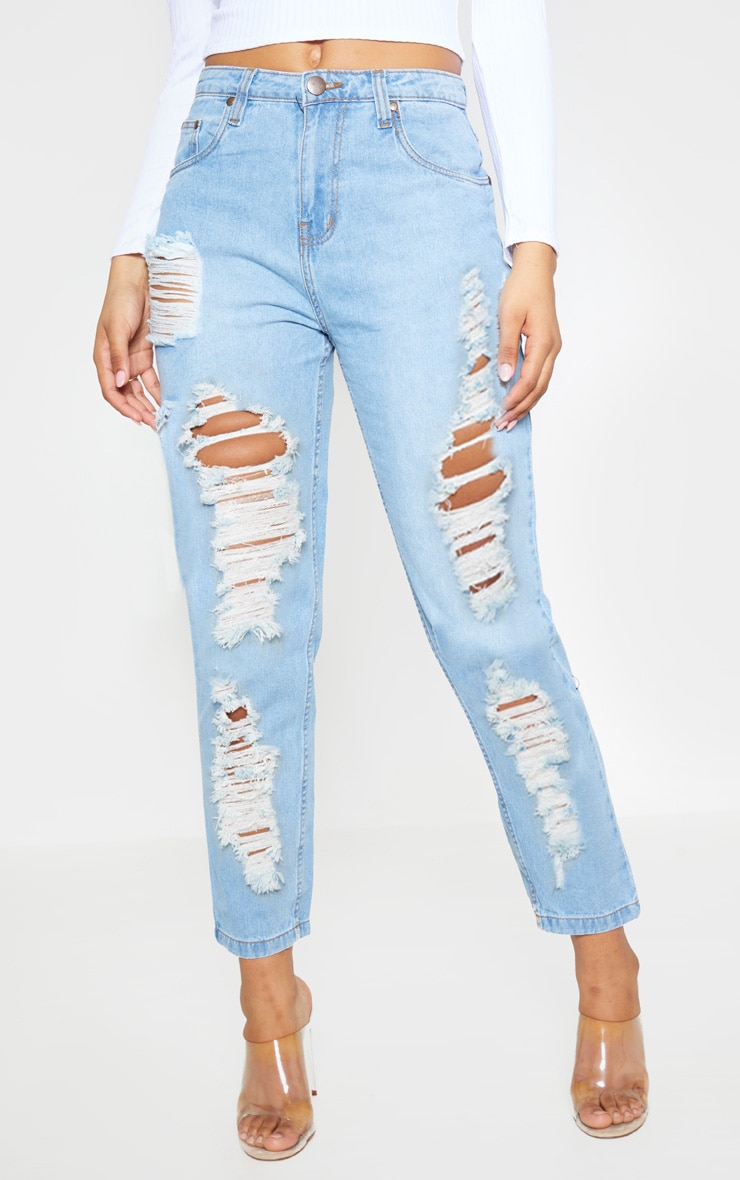 Tall Light Wash Extreme Distressed Rip Mom Jeans 2
