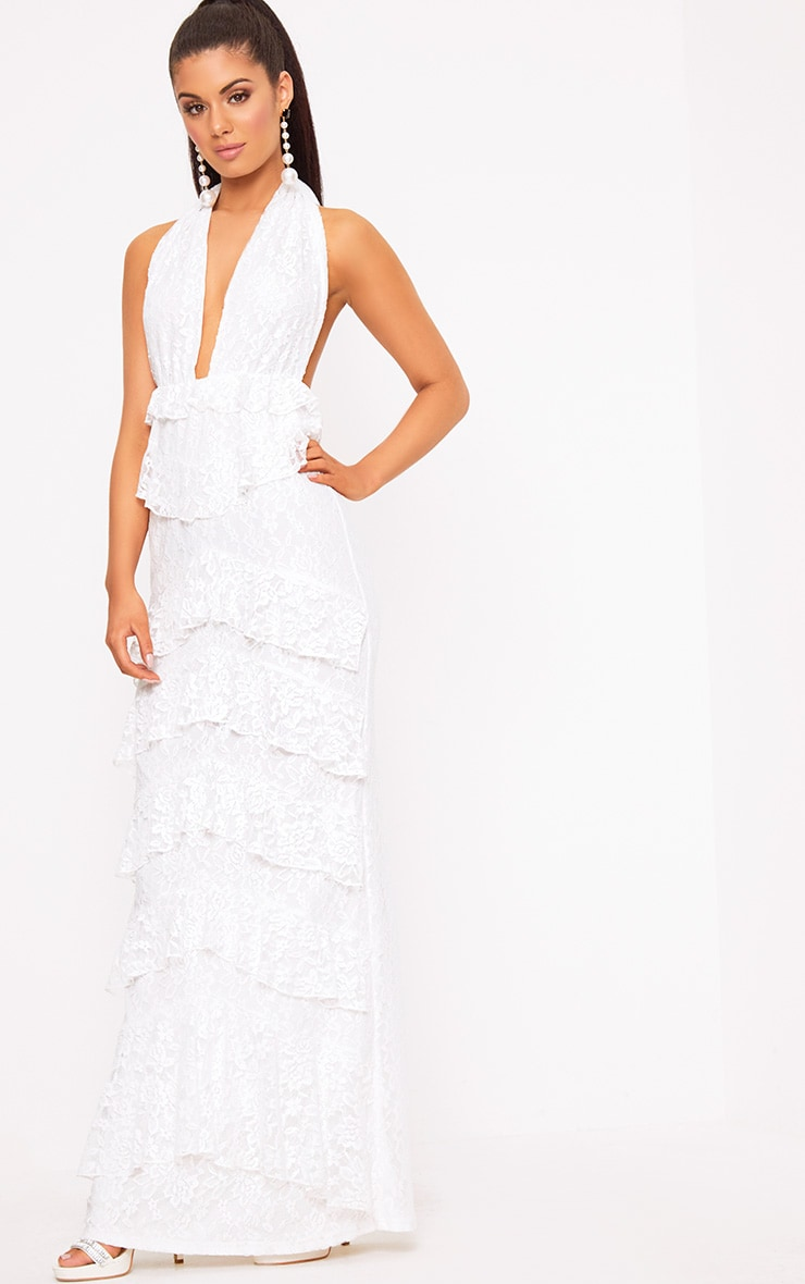 White Lace Frill Detail Maxi Dress 4