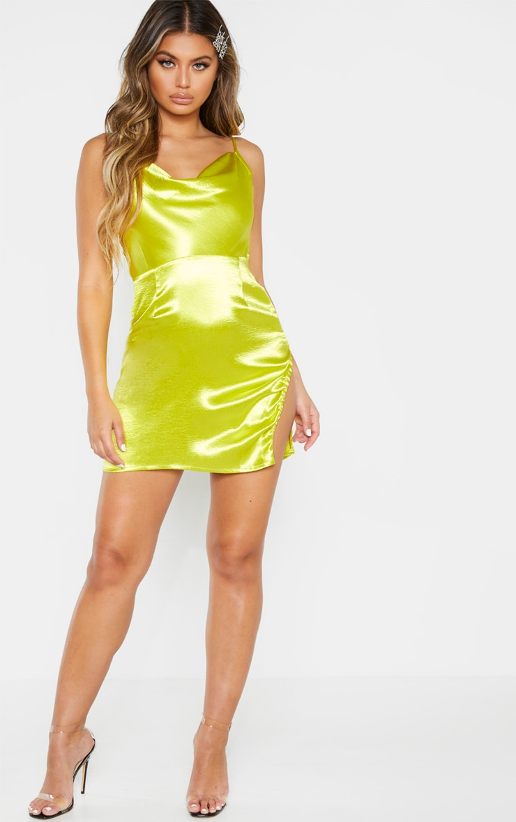 Chartreuse Hammered Satin Cowl Ruched Split Bodycon Dress 3