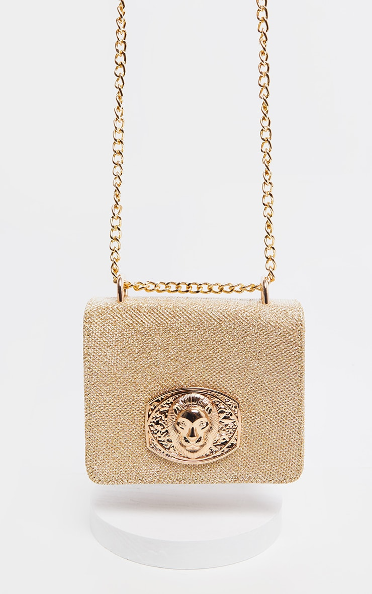 Gold Glitter Lion Head Trim Cross Body Bag   2