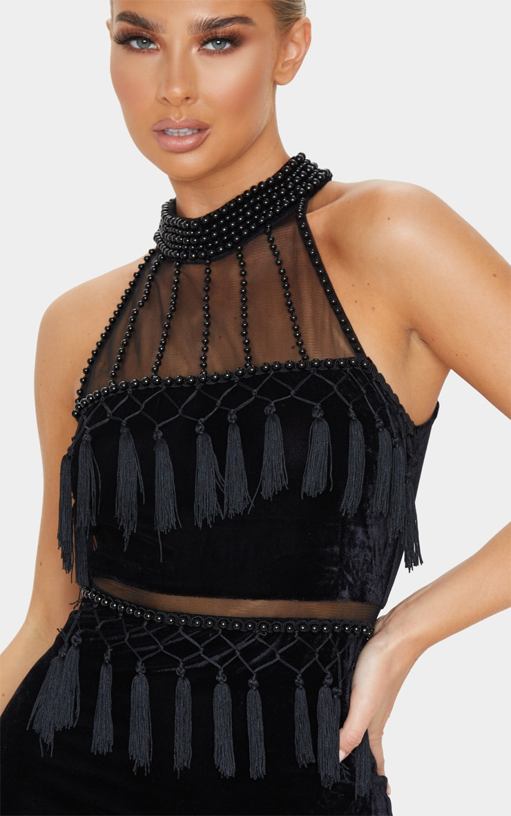 Black Beaded Velvet Tassel Bodycon Dress 4