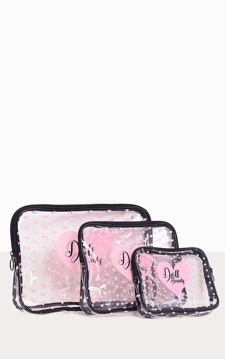 Doll Beauty 3 Pack Clear Love Heart Makeup Bag