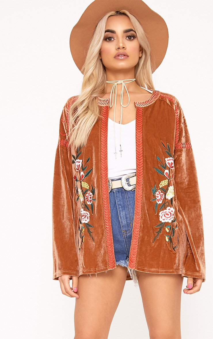 Karensa Tan Floral Embroidered Velvet Jacket 1