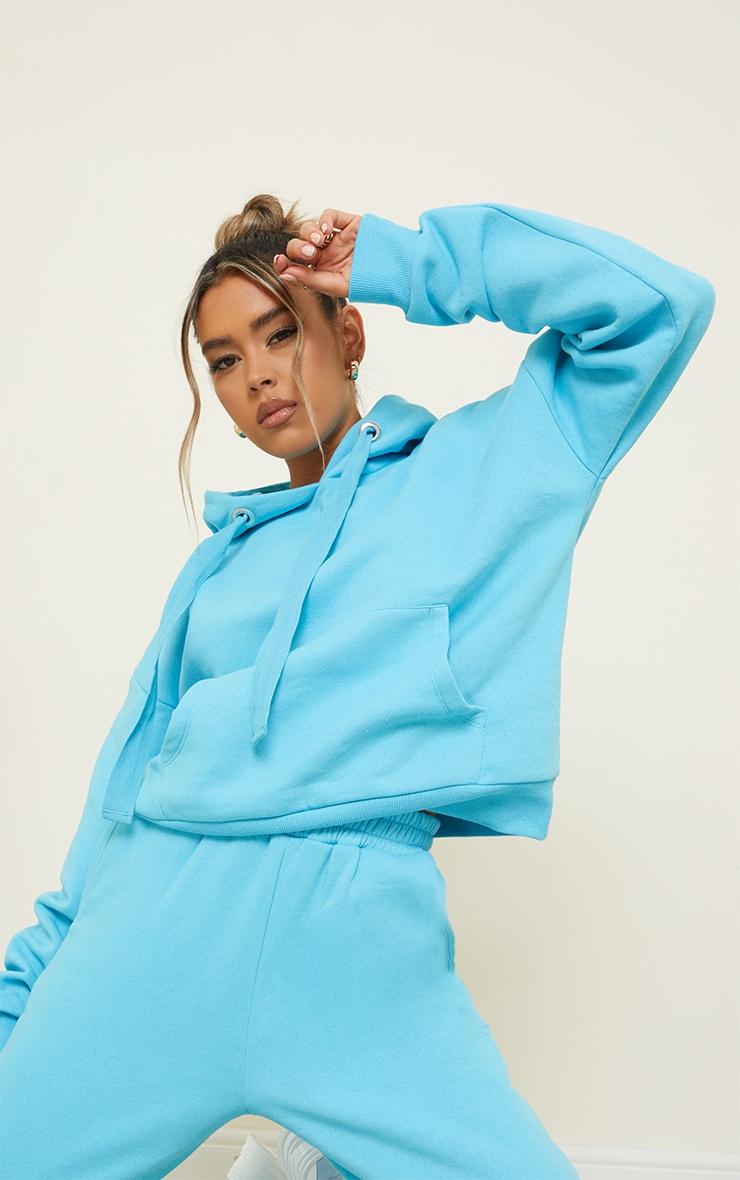 Bright Blue Oversized Drop Shoulder Pocket Front Hoodie 1