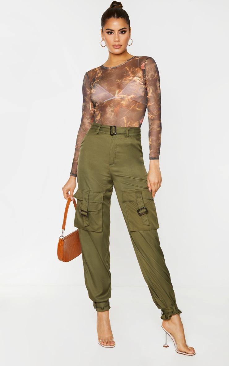 Tall Khaki Cargo Pocket Detail Buckle Pants 1