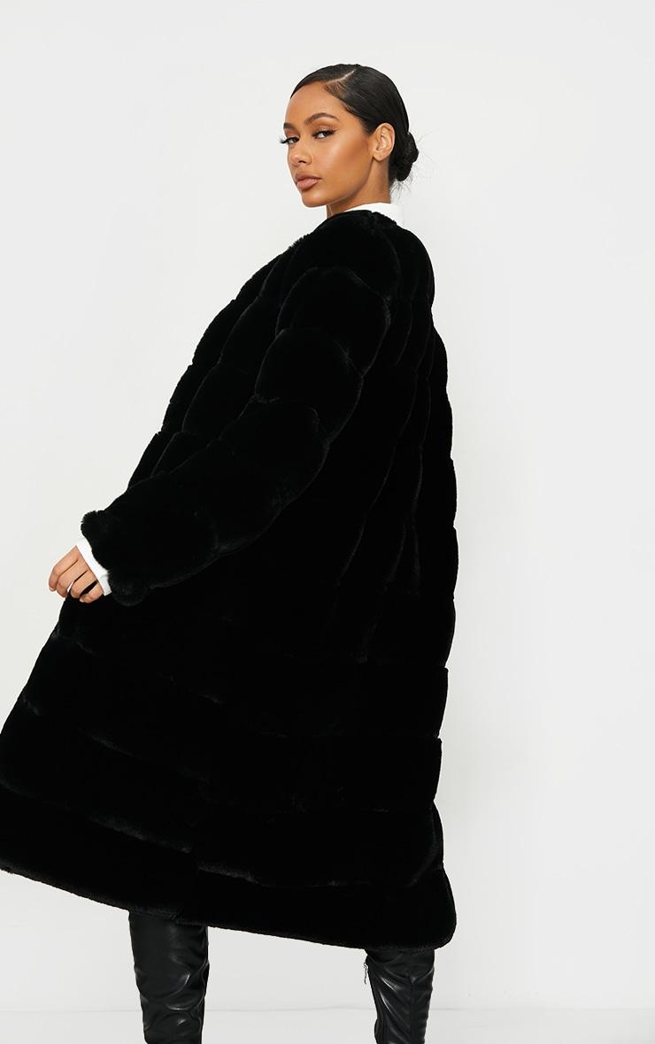Black Premium Faux Fur Bubble Maxi Coat 3