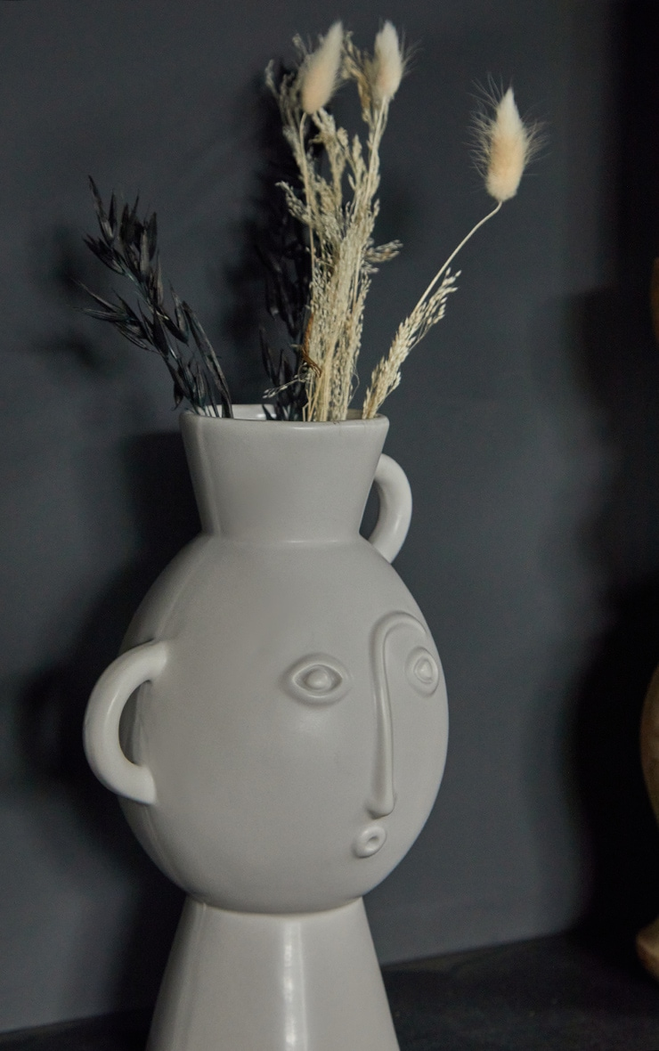 Grey Amira Face Vase With Handles 2
