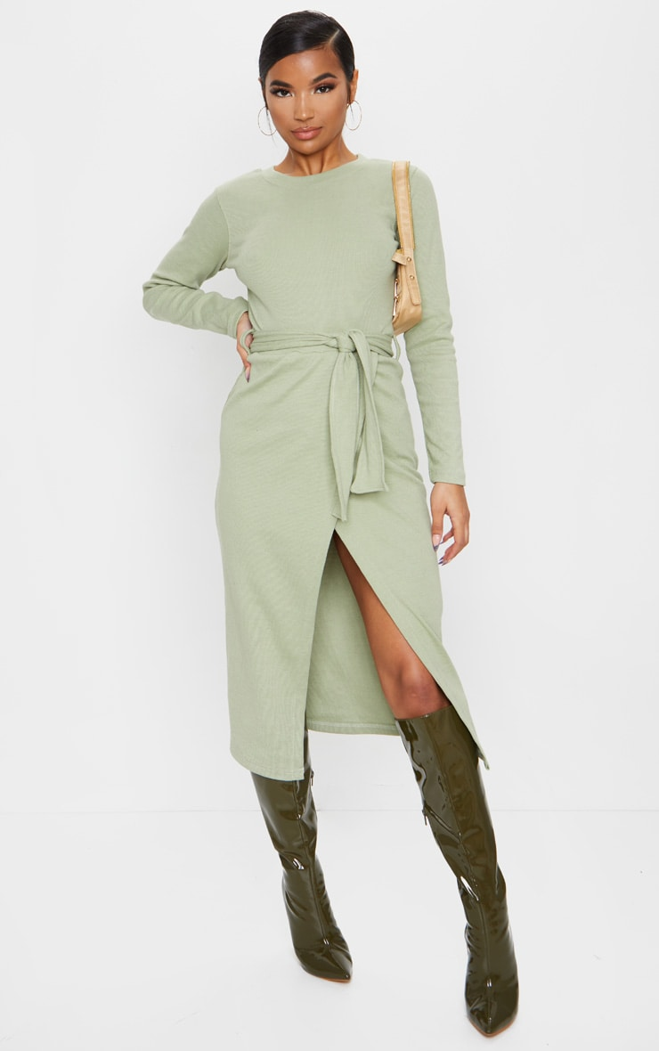 Sage Green Heavy Rib Tie Waist Wrap Midi Dress 1