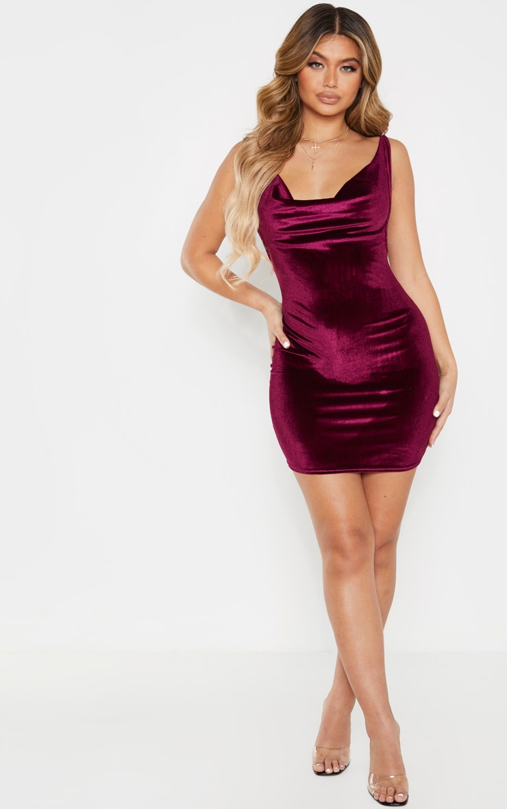 Burgundy Velvet Cowl Neck Bodycon Dress 4