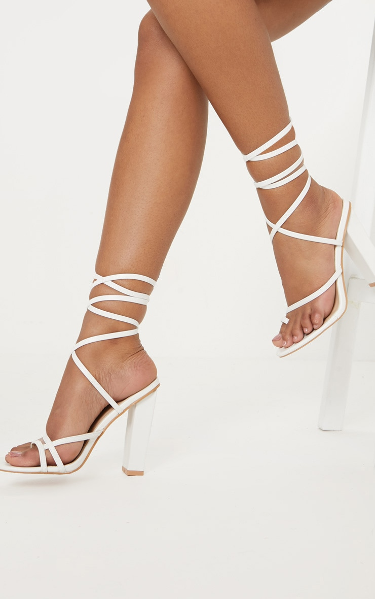 White Toe Loop Heeled Sandal 1