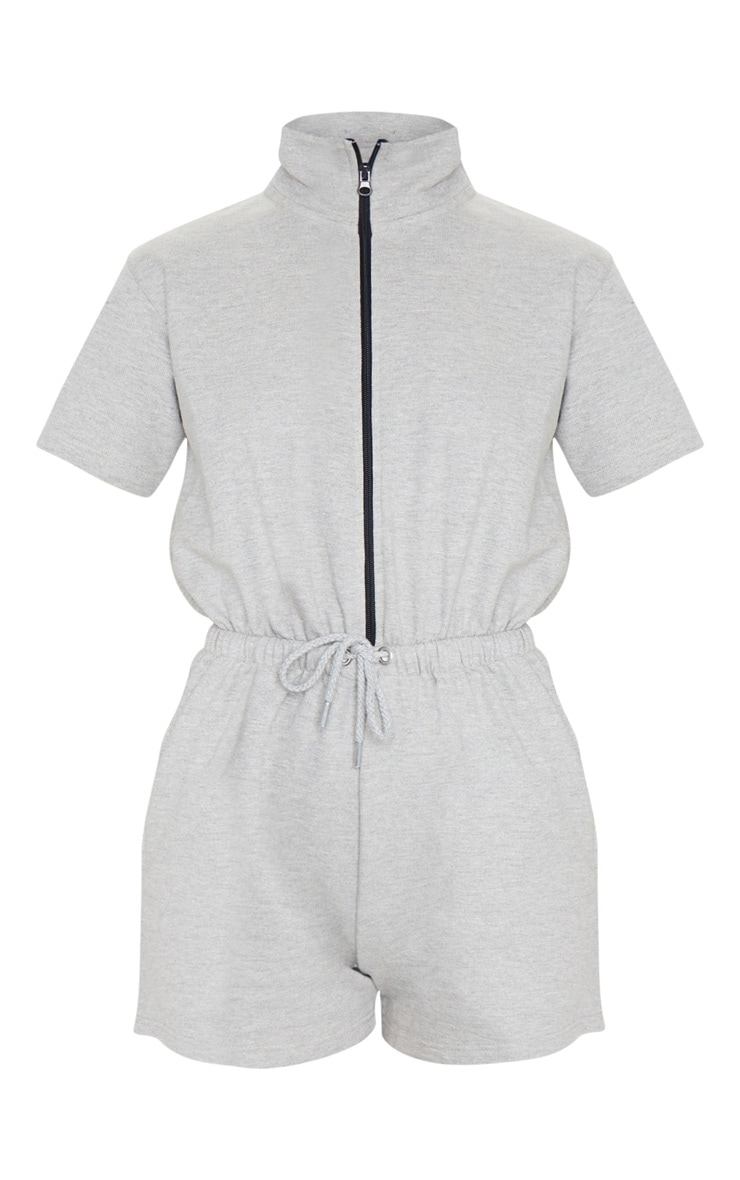 Grey Short Sleeve Zip Detail Sweat Romper 5