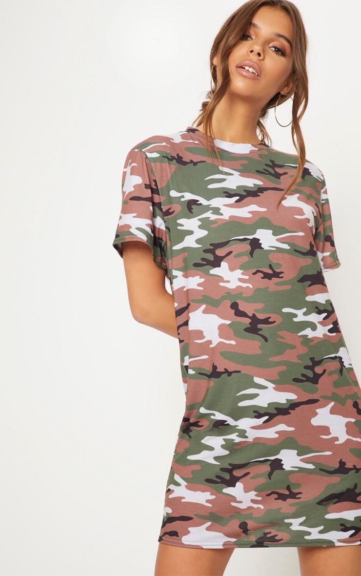 Basic Camo Short Sleeve T Shirt Dress
