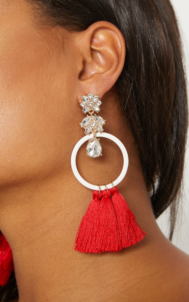 Red Diamante Tassel Earrings