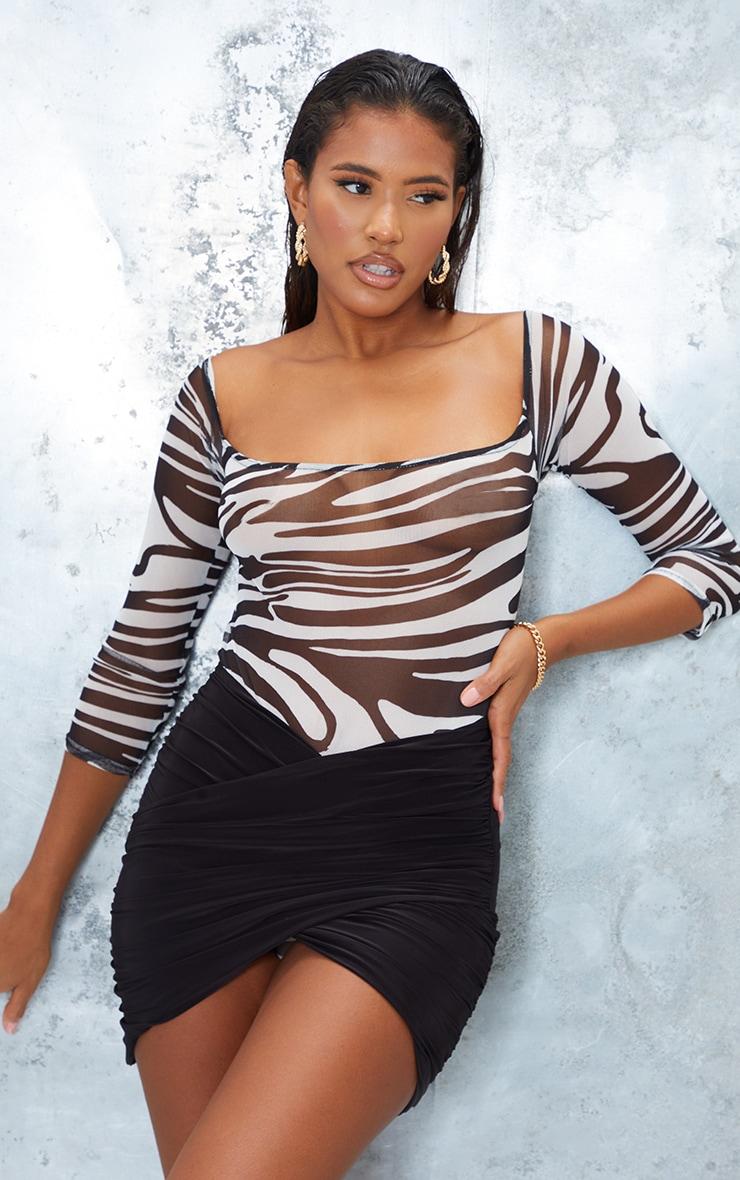 Monochrome Zebra Print Mesh Bardot Bodysuit 3