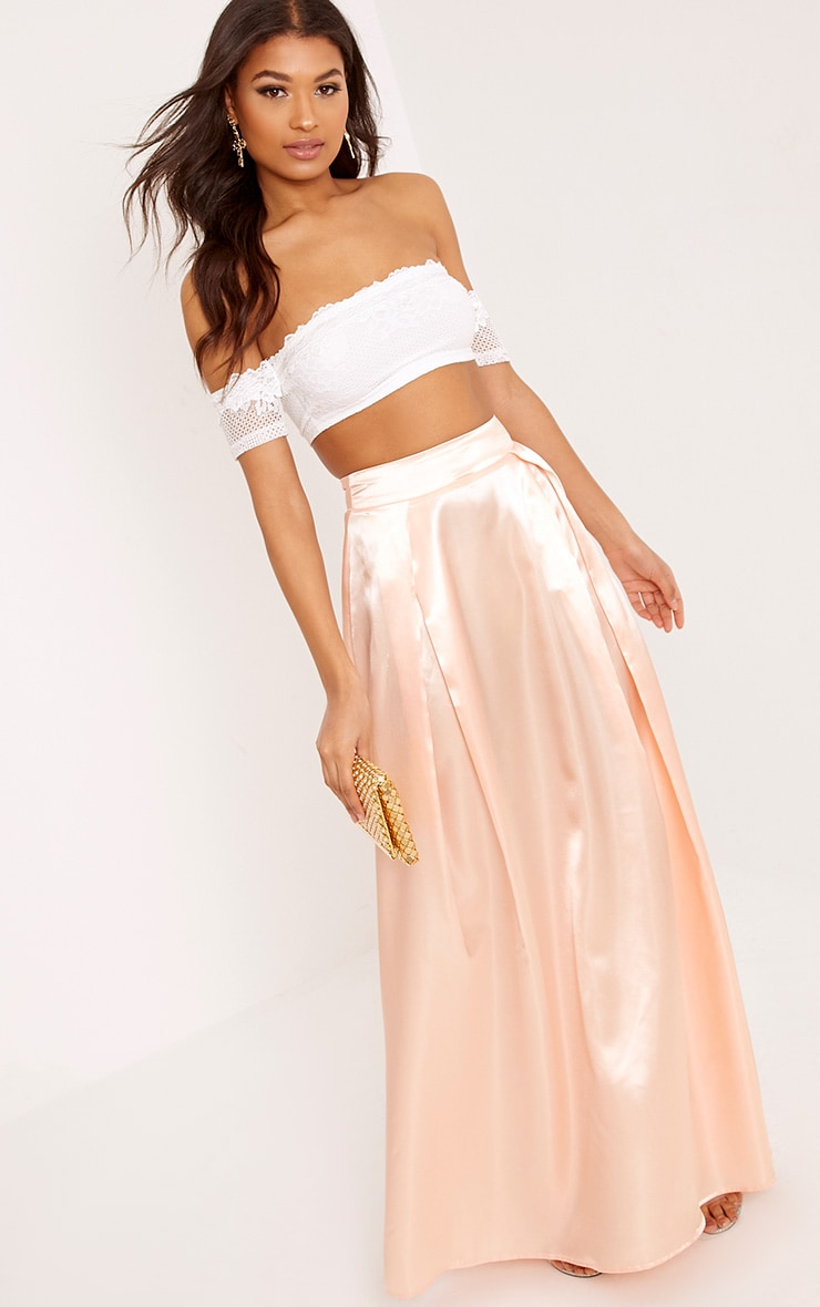 Ruthie Light Peach  Satin Maxi Prom Skirt  1