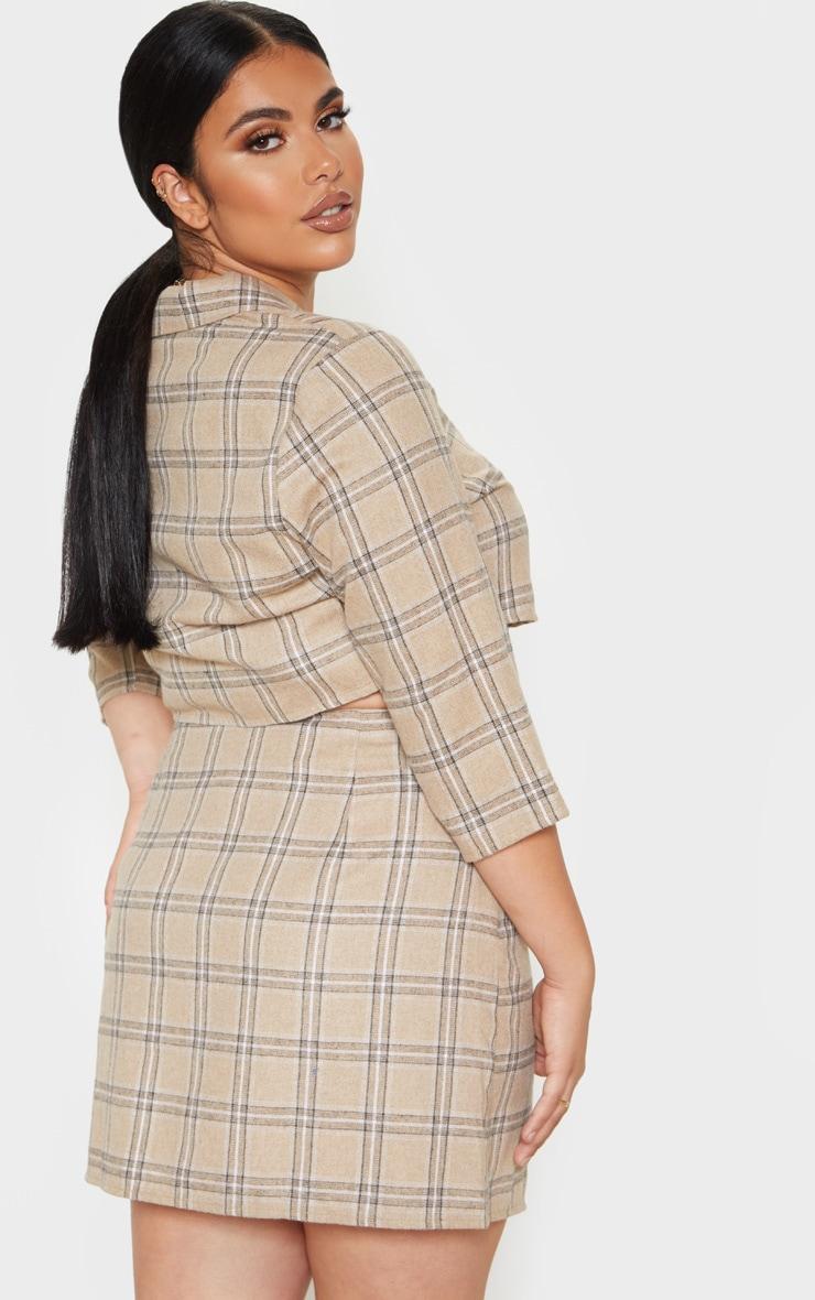 Plus Stone Check Button Detail Mini Skirt  2