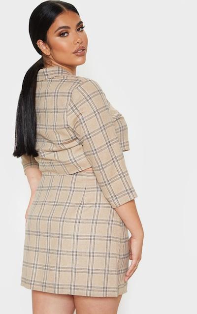 Plus Stone Check Button Detail Mini Skirt
