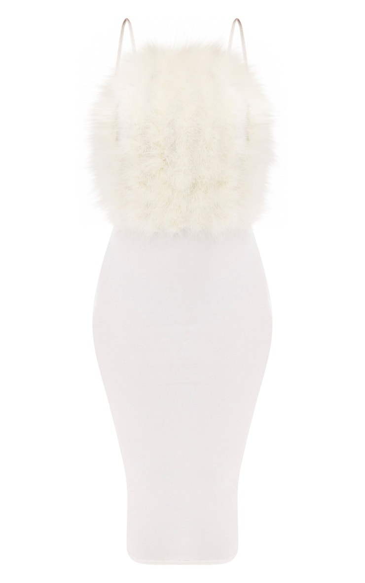 White Feather Bust Strappy Midi Dress 3