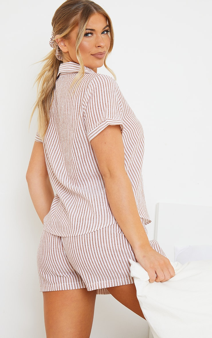 Beige Striped Cotton Short Sleeve Shirt And Shorts PJ Set with Scrunchie 2