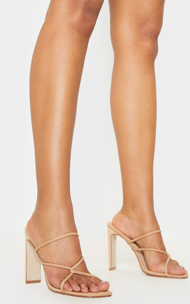 Nude Flat Heel Tube Strappy Mule Sandal 1