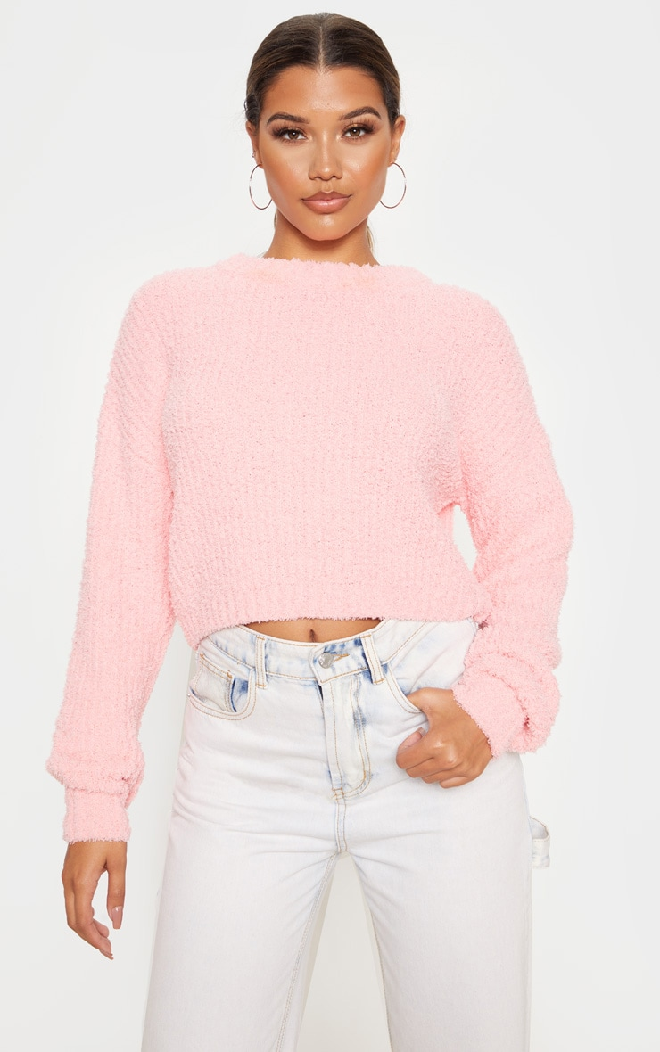 Coral Textured Soft Knit Crop Sweater 1