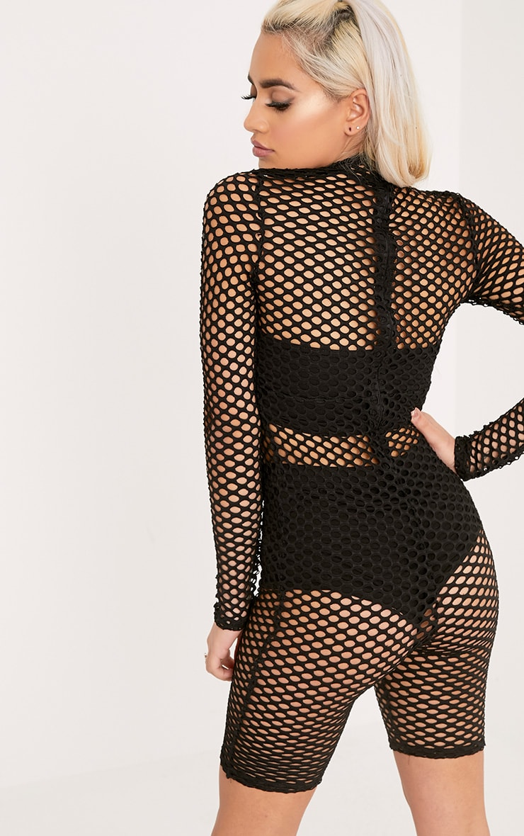 Kloe Black Fishnet Unitard 2