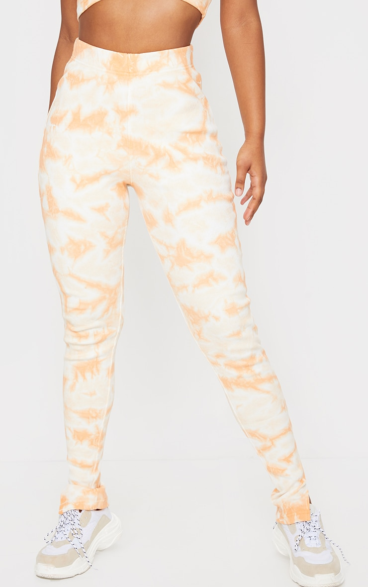 Orange Tie Dye Thick Rib High Waist Split Hem Trousers 2
