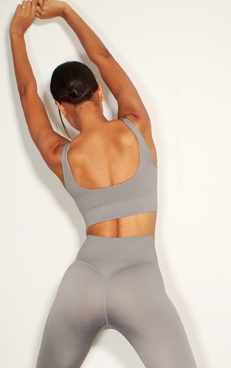 Grey Ribbed Seamless Sports Bra 2