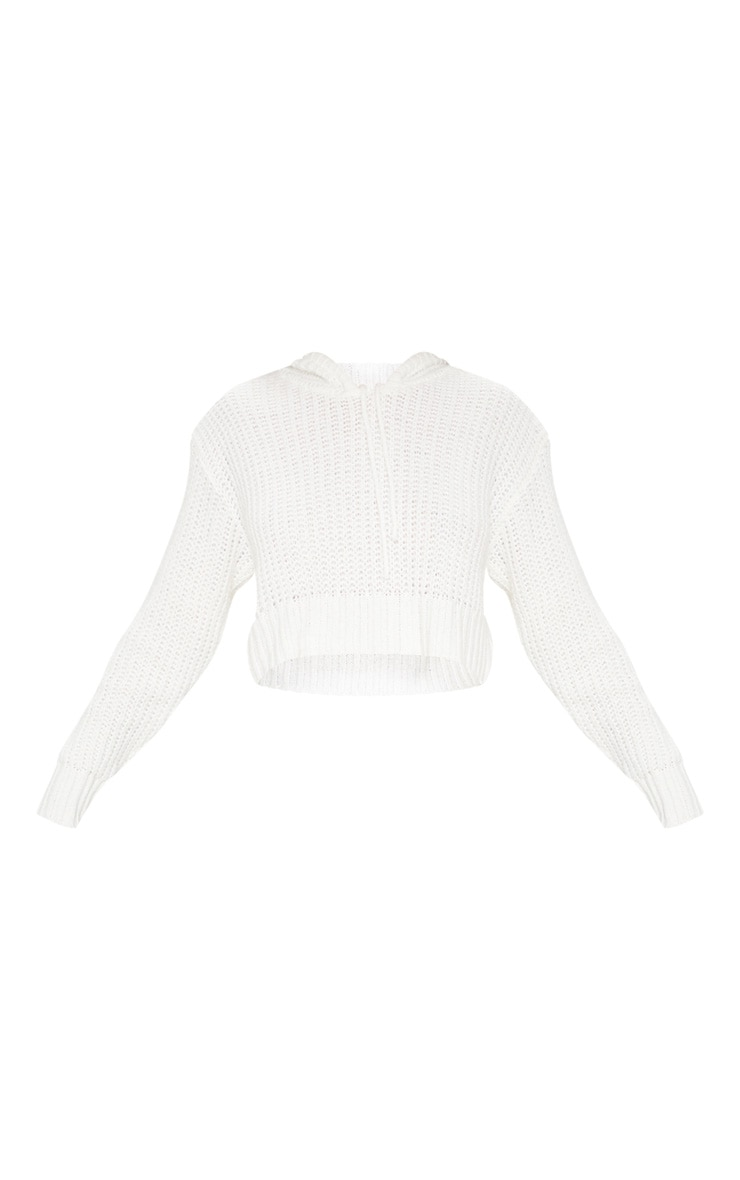Ivory Knitted Cropped Hoodie 3