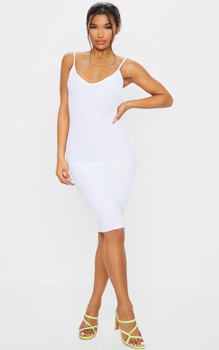 White Ribbed Plunge Bodycon Dress 1
