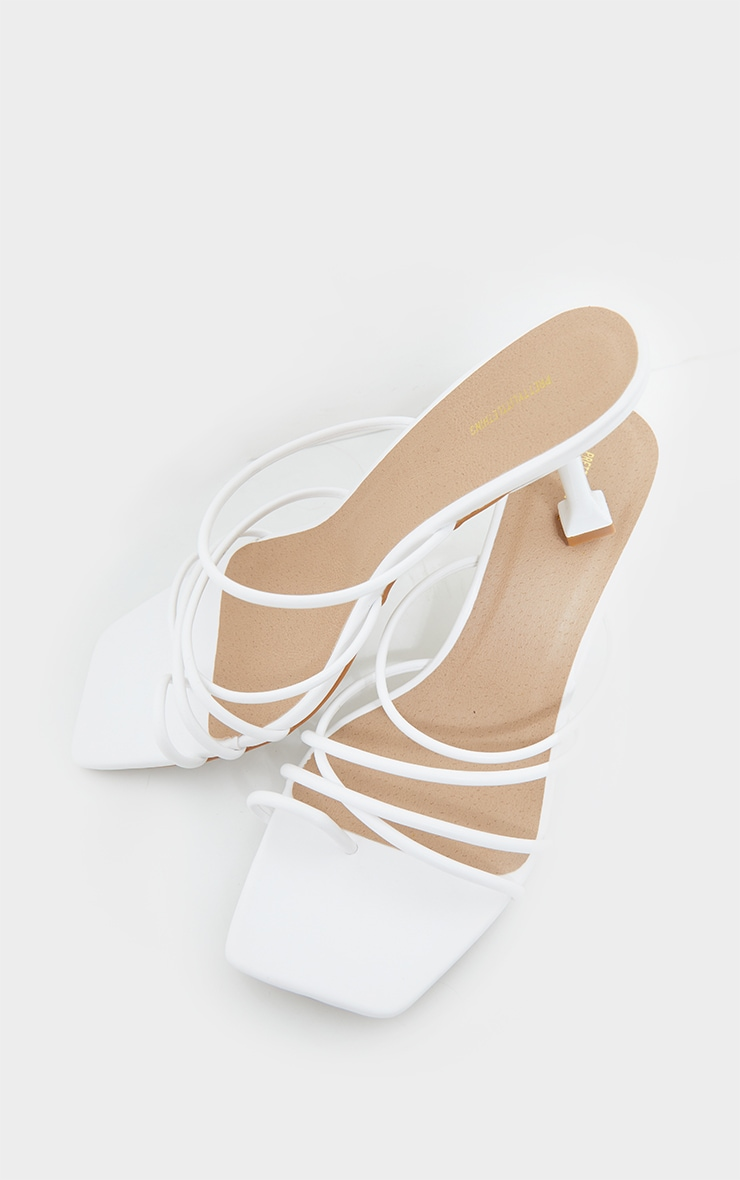 White Wide Fit Toe Loop Strappy Low Heel Mules 3