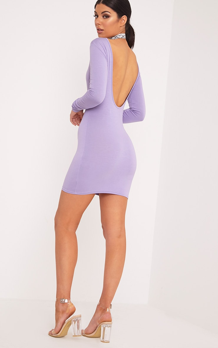 Basic Lilac Scoop Back Bodycon Dress 1