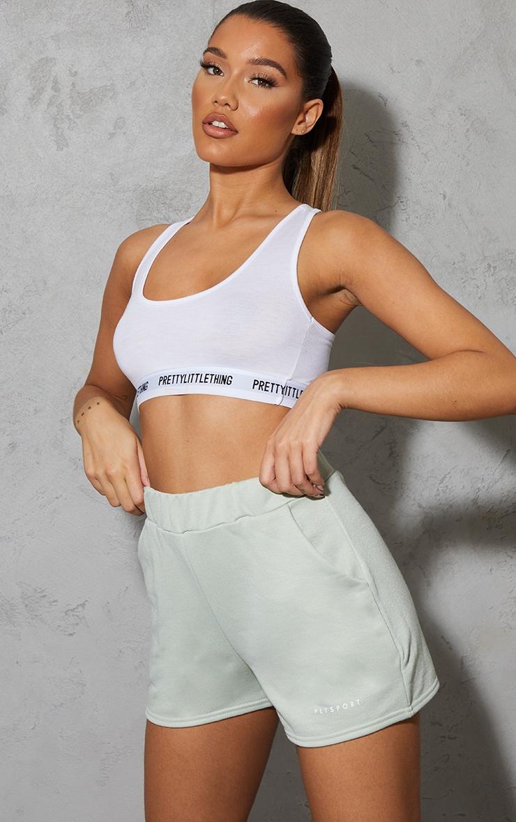 PRETTYLITTLETHING Green Sport Sweat Shorts 1