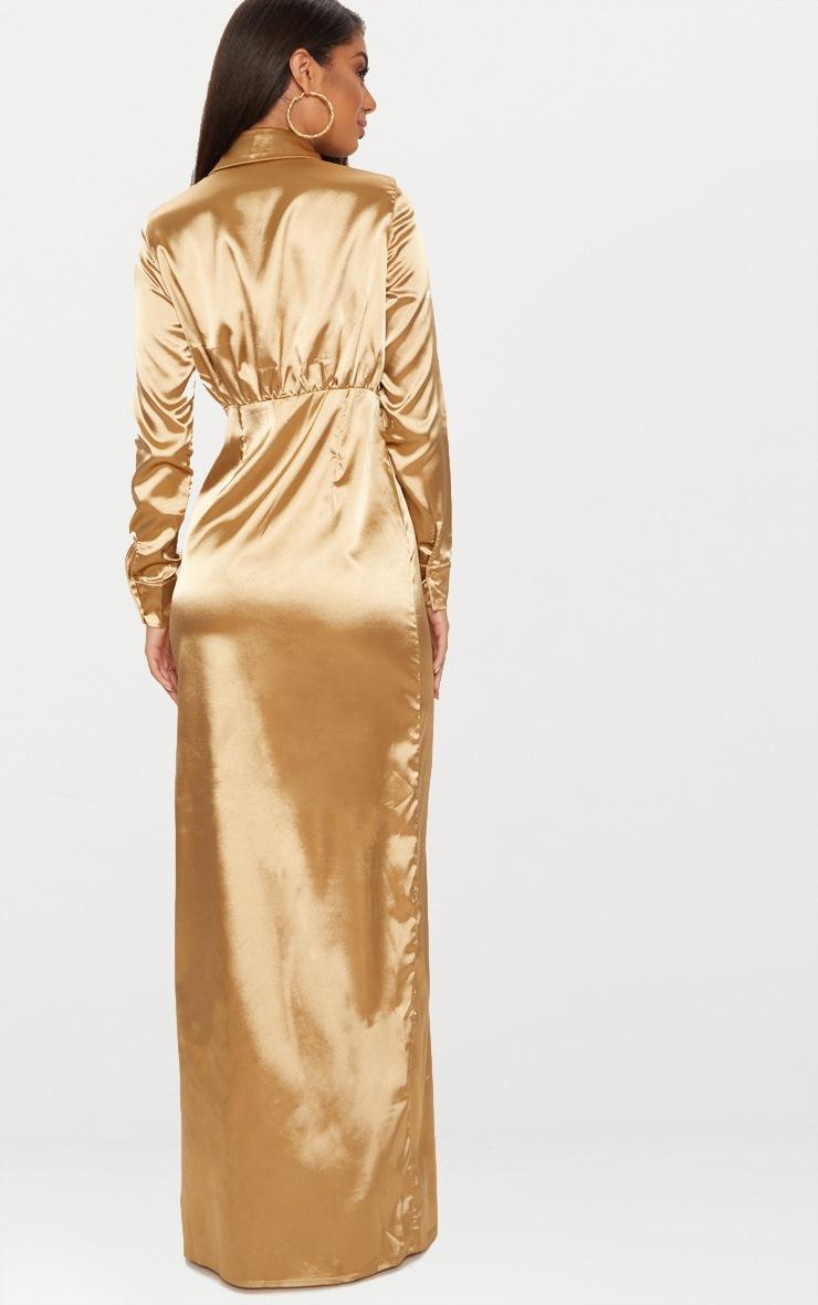 Camel Satin Utility Maxi Dress 2